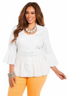Ashley Stewart Pleated Peplum Deep Scoop Shirt  #WhiteHot Contest