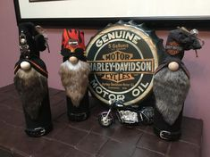Your place to buy and sell all things handmade Biker Gnomes, Gnome Images, Beard Colour, Motor Harley Davidson Cycles, Recycled Wine Bottles, Craft Day, Gnome Garden, Bottle Art, Schmidt