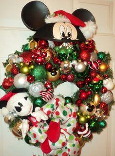 Disney Mickey Mouse Santa Christmas Wreath Custom by ViennaSparkle, $160.00