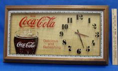 Vintage Coca Cola Coke Advertising Wall Clock Large Wood Wooden Frame Works