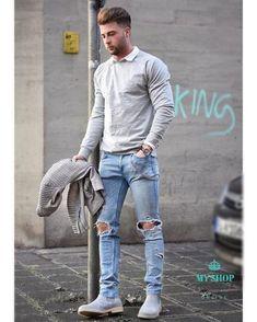 Skinny Jeans For Men Black Streetwear Hip Hop Stretch Hombre Slim Fit Fashion Fashion Mode, Mens Fashion Shoes, Fashion Night, Urban Fashion, Sneakers Fashion, Fashion 2016, Fashion Wear, Fashion Hats, Fashion Stores