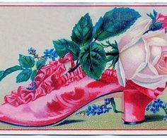 Vintage Clip Art – Ruffled Shoe with Roses