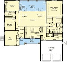 Energy Smart Home Plan with Spacious Great Room - 33143ZR | 1st Floor Master…