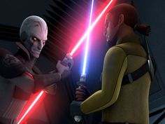 The Inquisitor and Kanan duel with their lightsabers