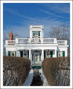 Tecumseh, in southeast Michigan's Lenawee County, is notable for several fine historic homes. This is the Anderson - Beardsley House, built in 1832 in what is described as a carpenter's ilnterpretation of Greek Revival style. MI, USA