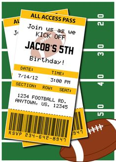 Football Birthday Party or Superbowl Invitations by HeathersCreations11, $7.00 ANY team available!!!