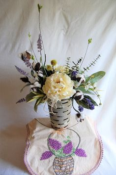 Peonies, lavender and cotton, some of my favorite things. Permanent botanical adds style to your Farmhouse décor.