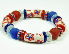 Our jewellery features ethically sourced materials including beads from many countries in Africa. Recycled Glass, Fair Trade, 4th Of July, Projects To Try, Beaded Bracelets, Beads, Usa, Blue, Jewelry