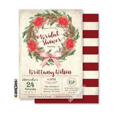 CHRISTMAS BRIDAL SHOWER Invitations Holiday Poinsettias Bridesmaid Brunch, Bridesmaids, Christmas Bridal Showers, Poinsettia, Bridal Shower Invitations, White Envelopes, Rsvp, Baby Shower, Holiday