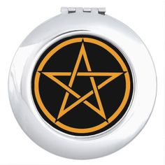 Black with Orange Pentacle Pagan Compact Mirror by www.cheekywitch.com #zazzle #compact #mirror #pentacle #pentagram #witch #wicca #wiccan #pagan #cheekywitch #black #orange
