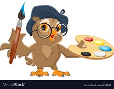 Owl artist holding brush and palette. Isolated illustration in vector format ,