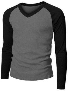 Mens Fashion Long Sleeve V-neck Raglan Baseball T-shirt (149D) www.doublju.com