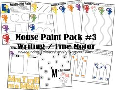 Preschool printable packs for Pre-writing (tracing), beginning scissor skills, counting, and color/size sorting.