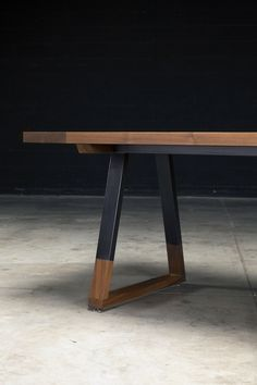Griswold Dining Table by AntonMakaDesigns Solid American Walnut | Blacked Steel Base w/ Walnut Inlay CUSTOM SIZING AVAILABLE