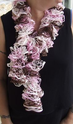 Hand knitted ladies ruffle scarf in shades of pink  by WoolieBits