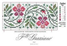 Cross Stitch Boarders, Cross Stitch Rose, Cross Stitch Flowers, Cross Stitch Charts, Cross Stitch Designs, Cross Stitching, Cross Stitch Embroidery, Embroidery On Kurtis, Embroidery Designs