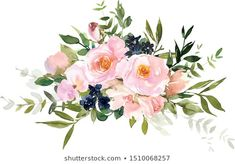Similar Images, Stock Photos & Vectors of Watercolor drawing of a branch with leaves and flowers. Composition of pink roses, wildflowers and garden herbs Decorative bouquet isolated on white background. Simple Watercolor Flowers, Wreath Watercolor, Easy Watercolor, Watercolor Drawing, Floral Watercolor, White Roses, Pink Roses, Flower Frame, Botanical Illustration