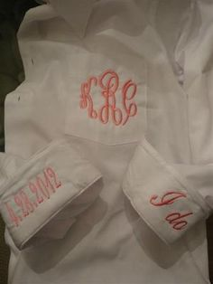 Oversized  button down Bride or  Bridesmaid shirt cuffs say I do & wedding date