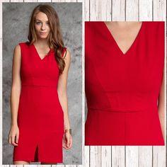 Scarlet dress V neck with slit in the front. Fits 2-4. Dresses Mini
