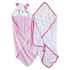 Just One You™Made by Carter's® Newborn Girls' 2 Pack Mouse Bath Towel Set - Pink - Update 1/2015 wish they were thicker to keep baby warmer.  We set it over the heater vent while baby is in the bath to help.