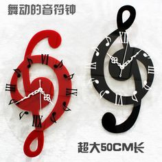 3d  peacock wall art | Free shipping 2013 new Musical note wall clock fashion home decoration ...