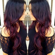 black to maroon ombre