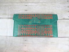 Turquoise Totes: Aztec Tribal Print Leather Clutch