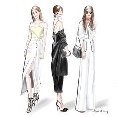 Street Style at MBFWA 2016, Sydney; fashion illustration by Draw A Story.