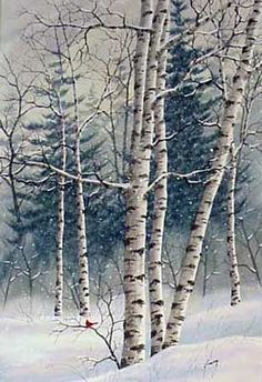 A larger photo of the print, Winter Woods, from an original watercolor by Kathy Glasnap of Door County