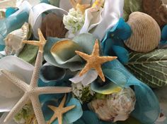 Driftwood and Seashell Turquoise and White by VictoriaGreenFlowers, $69.95