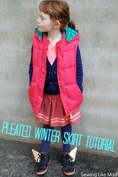 Pleated Winter Skirt #tutorial. Sewing Like Mad