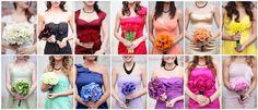 Rainbow styled bridesmaid dresses #rainbow #wedding #dresses