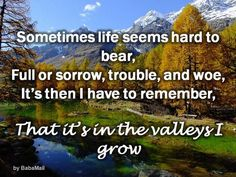 One Thing I Want To Remember: It's in the Valleys I Grow