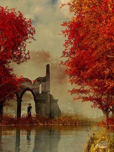Ruínas na névoa do outono.  Fotografia: deskridge.
