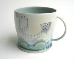 Cloudy Paper Airplane Porcelain Mug
