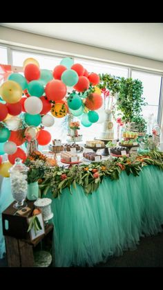 Beautiful mint, gold, coral boho dessert table by Rainbows and Lollipops
