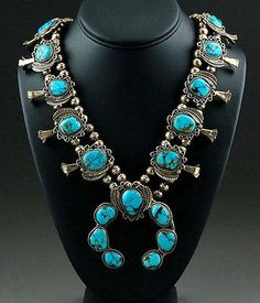 Vintage-70s-Pawn-Sterling-Silver-Blue-Diamond-Turquoise-SQUASH-BLOSSOM-NECKLACE