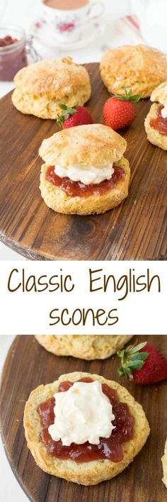 Classic English scon Classic English scones are flaky, light and fluffy and quintessentially British. Topped only with jam, clotted cream along with a pot of tea, they are perfect for breakfast or afternoon tea. British Scones, English Scones, English Food, English Snacks, English Breakfast Tea, Breakfast Recipes, Dessert Recipes, Cake Recipes, Dessert Ideas