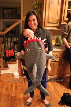 Coolest Baby Shark Attack Costume Using Baby Carrier... This website is the Pinterest of costumes