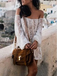 Love Love Love Lace! So Pretty! White Lace Embroidery Off Shoulder Shift Dress -Love the PURSE.