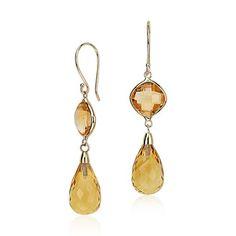 Citrine Drop Earrings in 14k Yellow Gold