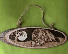 """RESERVED FOR MEGHAN - Pyrography on a wooden slice - """"Relaxing Wolf at Night"""" - Wood burning - Home Decoration"""