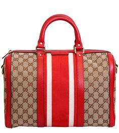 Gucci Red/Beige Guccissima Print Borsa Bag