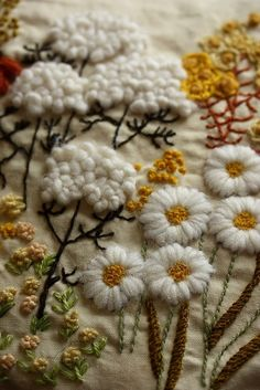 All about embroidery! Embroidery applique, cute embroidery, embroidered shirts, embroidering machine, embroidery clothes and more. Crewel Embroidery - Long & Short as Soft Shading in Colors - Embroidery Patterns crewel embroidery pillow by mellow_stuff cr Crewel Embroidery Kits, Embroidery Applique, Cross Stitch Embroidery, Embroidery Patterns, Embroidery Thread, Embroidery Supplies, Flower Embroidery, Seed Stitch, Fabric Art