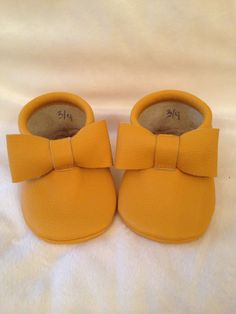 Mustard Yellow Leather Baby Moccasins with by TwoLittleIndiansmocs, $30.00