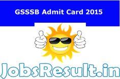 GSSSB Admit Card 2015