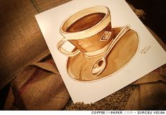 Coffee Art by Dirceu Veiga  Coffee Art is a painting technique that use just 100% coffee instead ink to paint.