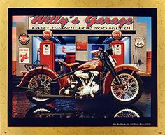Deck up your interiors with this wonderful Harley Davidson Willy's garage vintage motorcycle print framed art poster. This framed art poster will add a unique character to your room setting and goes with all décor style. It will be an ideal gift for any motorcycle lover. Its wooden golden frame accentuates the poster mild tone. The frame is made from solid wood measuring 18x22 inches with a smooth gesso finish. This framed poster includes a wire hanger on the back for easy display.