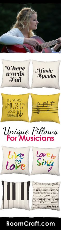"""""""If music be the food of love, play on."""" Let the music speak to you through these musically inspired throw pillows. Ranging from instruments to song, every design is offered in multiple colors, sizes and fabrics making them the perfect addition to any room in your home, office, or music studio. Our quality music pillow covers are made to order in the USA and feature 3 wooden buttons on the back for closure. Choose your favorite and create a truly unique pillow set. #roomcraft"""