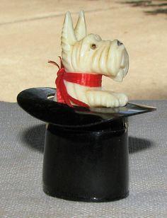 Vintage Celluloid Bakelite Scottie Dog in Top Hat
